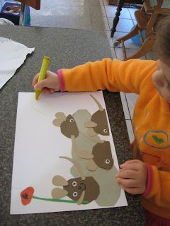 Frederick- use torn construction paper to create favorite illustration. K compose caption. Scribe.