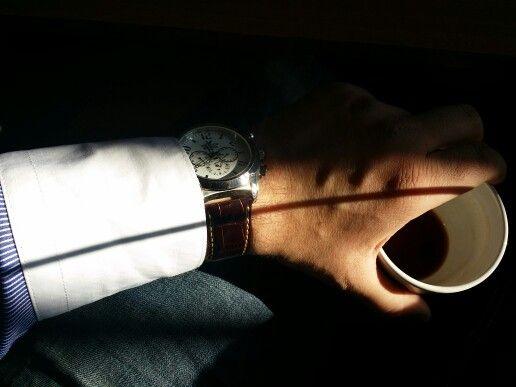 The good morning coffee   At Gru's Caffe in Alba Iulia, Alba #watch #coffee #sunshine #shadows