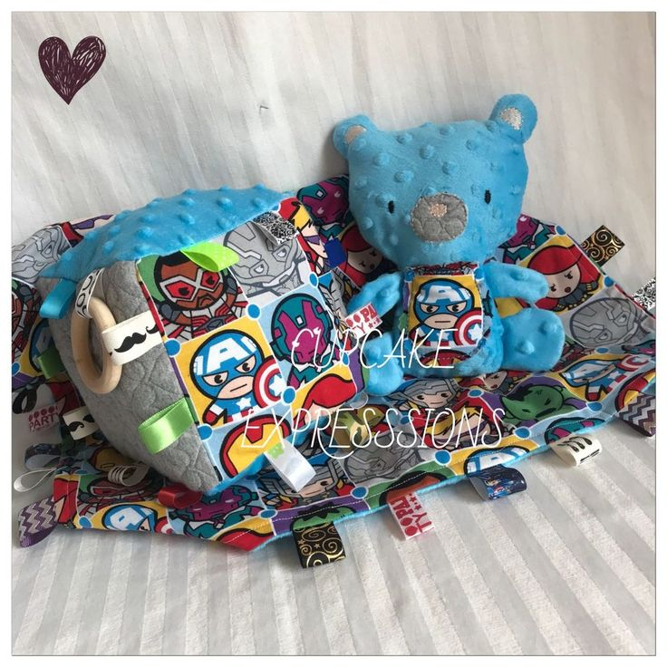 Tag Baby Blanket, Play Cube, & Bear Rattle Squeaker Set - Kawaii Marvel Avengers Captain  | eBay