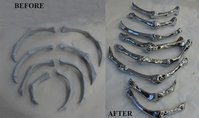 Before-After 3D printed ribs for motorbike