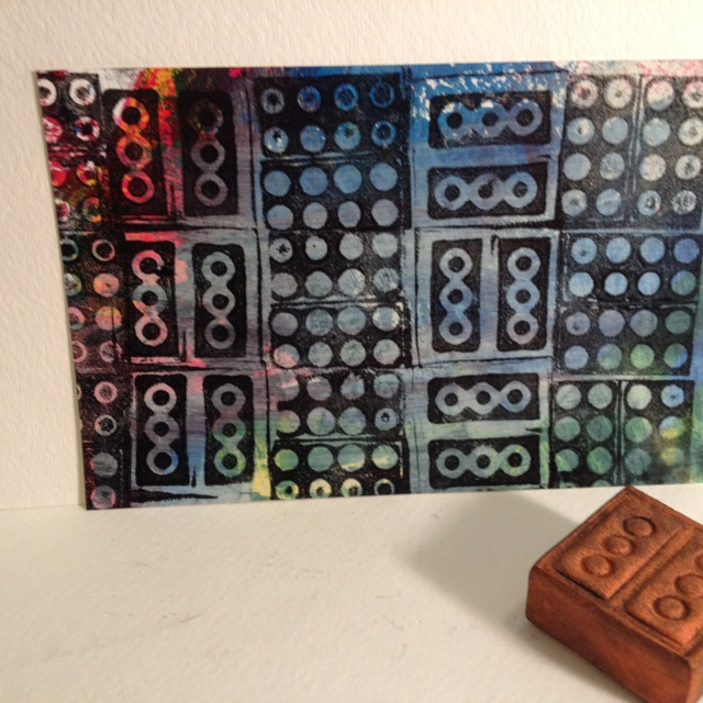 Print made from a foam block impressed with the tops & bottoms of toy blocks for Day 29 of #30DoC