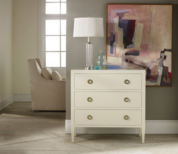 Painted White Three Drawer Chest, Cottage & Bungalow