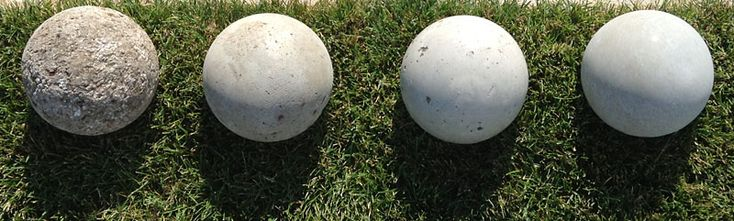 DIY Concrete Garden Globes   Here is a shot of our four recipe balls. In order, from left to right… Hypertufa recipe 1, Recipe 2, Recipe 3, Recipe 4 or the pure Portland cement and water.