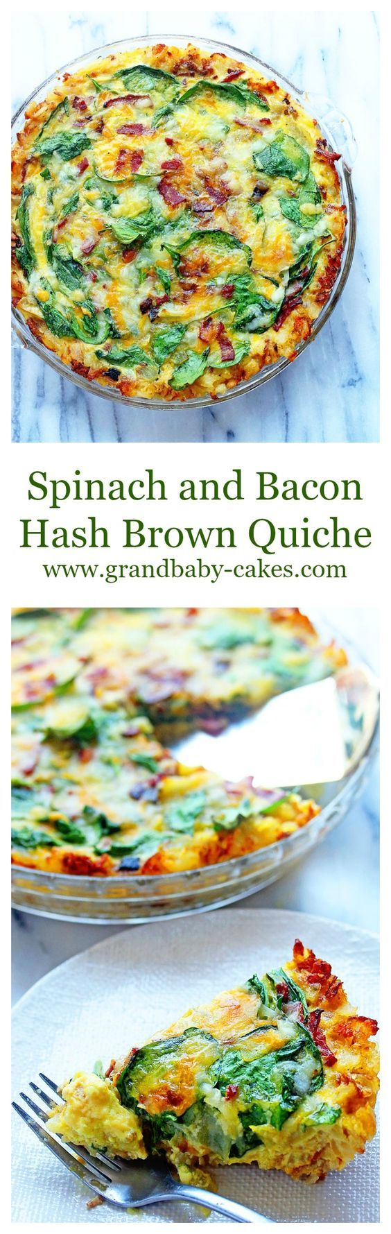 Spinach and Bacon Hash Brown Quiche- perfect for Mother's Day and Father's Day Brunches!! ~ http://www.grandbaby-cakes.com