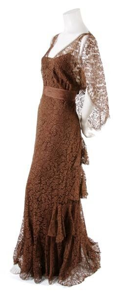 A French Couture Brown Lace Dress, 1936