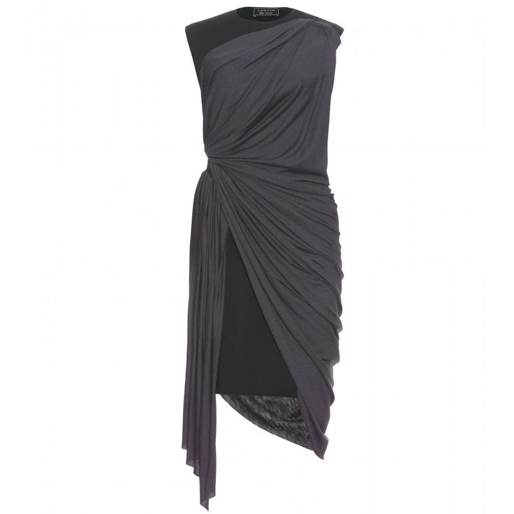 Lanvin Neoprene Dress With Jersey Draping