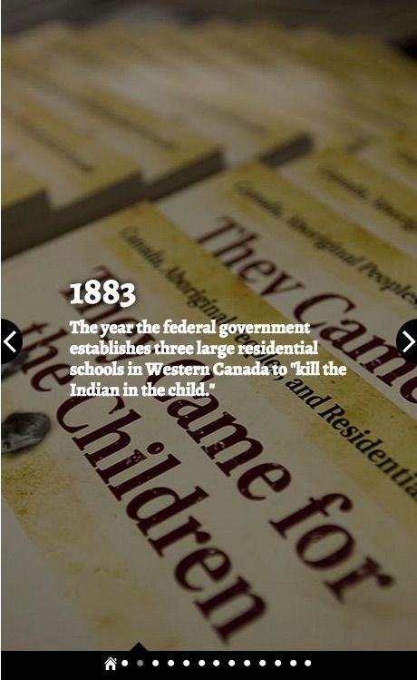 "(3 of 10) Residential Schools by the Numbers 1883: The year the federal government establishes three large residential schools in Western Canada to ""kill the Indian in the child."" Source: The Canadian Press"