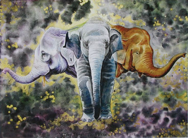 Elephant painting on canvass - Past, Present & Future