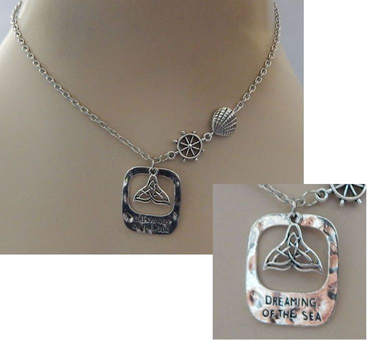 Dreaming of the Sea Whale Tail Pendant Necklace Jewelry Handmade NEW Silver  #Handmade #Pendant