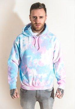 Pink Blue Pastel Tie Dye Hoodie Mens