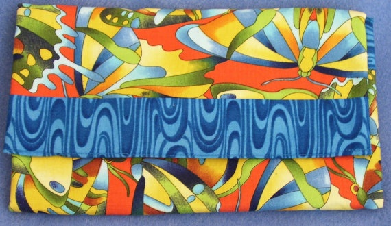 Trifold Fabric Clutch Wallet with Crazy Butterflies by SpiritPenny, $33.00