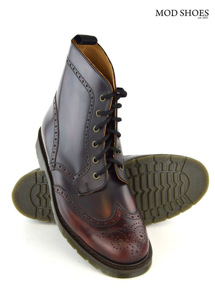 Oxblood Brogue Boots – The Busters – DM Type Sole – Mod Shoes