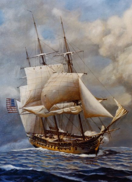 """USS Constellation,"" one of the original six frigates authorized by the Naval Act of 1794. The others were the ""Constitution,"" the ""President,"" the ""United States,"" the ""Congress"" and the ""Chesapeake."""