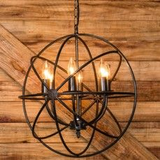 For the Entry? Sphere Chandelier | Wrought Iron Chandeliers | Iron Orb Chandelier at Antique Farmhouse $132.00