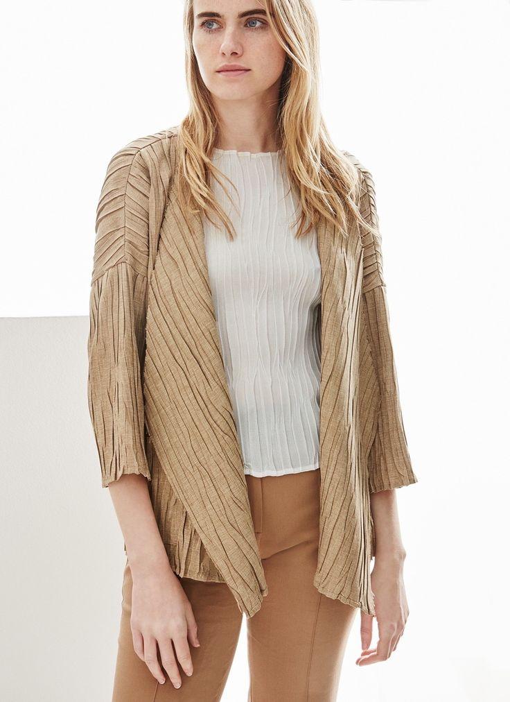 Chaqueta de crinkle efecto lino - Abrigos y chaquetas | Adolfo Dominguez shop online