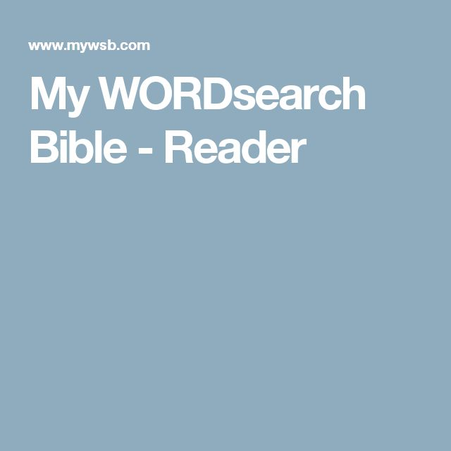 My WORDsearch Bible - Reader