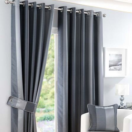 Dunelm Grey Eyelet Curtains in W 228cm (90'') x Drop 137cm (54'') Size