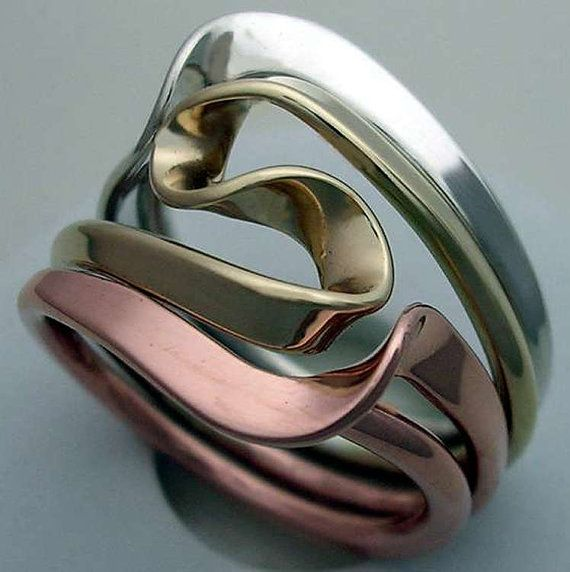 Tesla Inspired Silver 14k Yellow Gold and Copper Vortex by isidro http://artisansilvergifts.com/