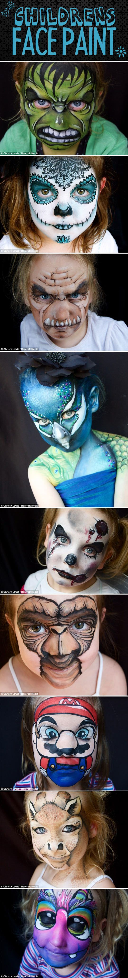 While I could never see my daughter sitting still long enough (or keeping her hands off her face) these are totally rockin face painting ideas for kids or even us big kids.