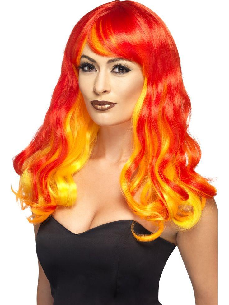 Piruttaren peruukki. Kaikki tulen värit. Puna-oranssi-keltainen väri. Pitkä peruukki.