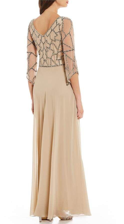 6528c18f99e J Kara V Neck Sequin Bodice Chiffon Gown  Sequin Neck Kara
