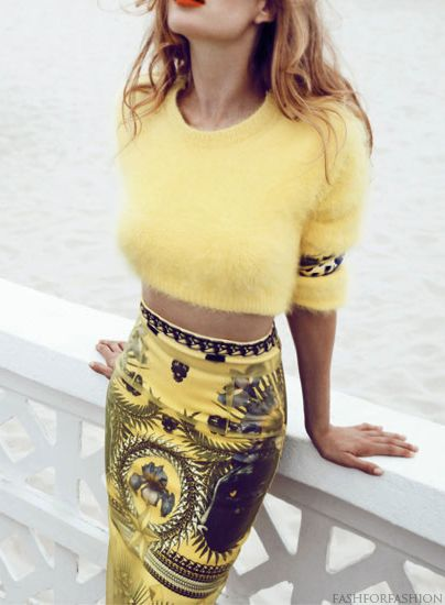 ☀ summer yellow, cropped jumper with givenchy print pencil skirt