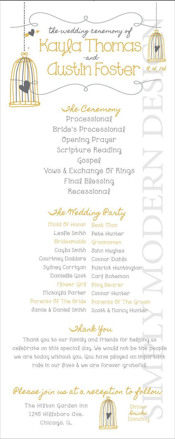 Birdcage Wedding Program Ceremony By XSimplyModernDesignx