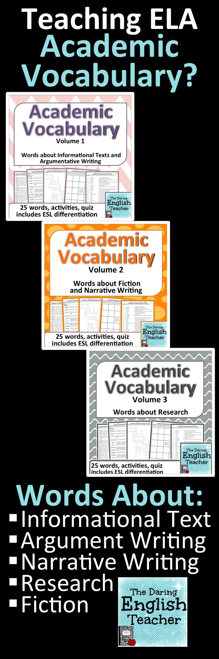 Academic vocabulary units for high school and middle school English students.