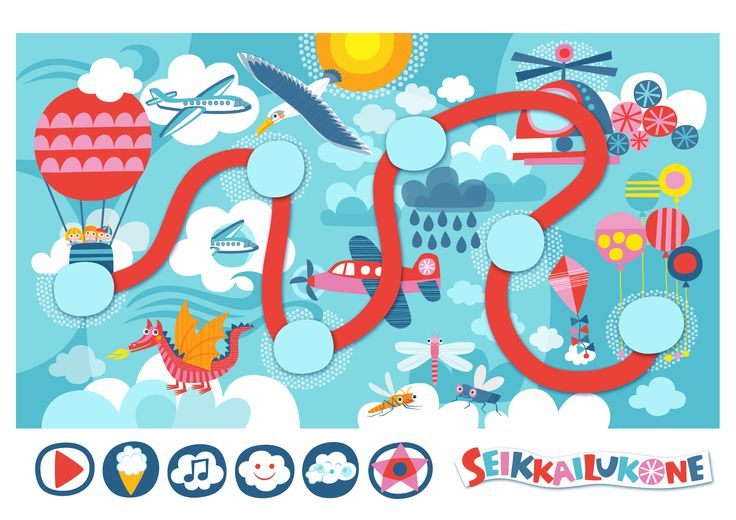 Seikkailukone | tulostettava | paperi | kartta | peli | tehtävä |  pilvien päällä | lapset | game | map | children | kids | free printable | Pikku Kakkonen