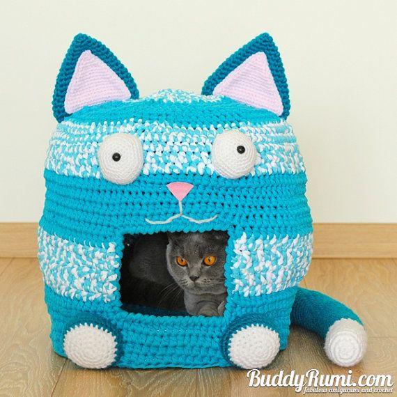 Crochet PATTERN: Kitty Kat House Crochet Cat Bed Cave Pattern by BuddyRumi