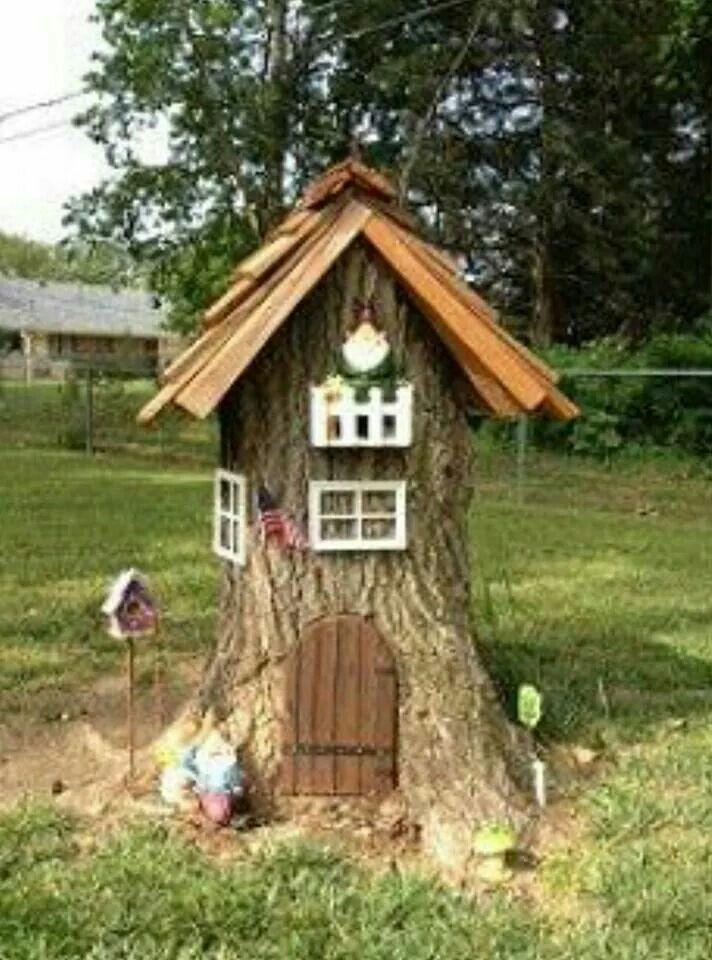 Tree stump turned Gnome home..