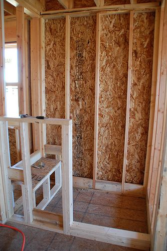 diy walk in shower step 1 rough framing