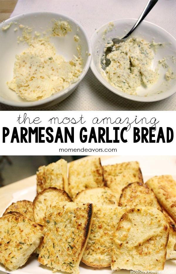 Parmesan Garlic Butter Spread via momendeavors.com -- perfect for making garlic bread quickly! #recipe