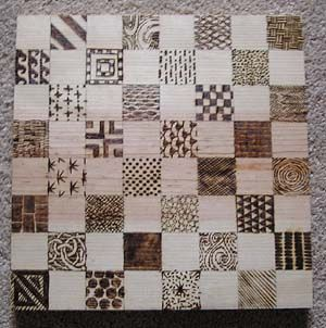 wood burned checkerboard