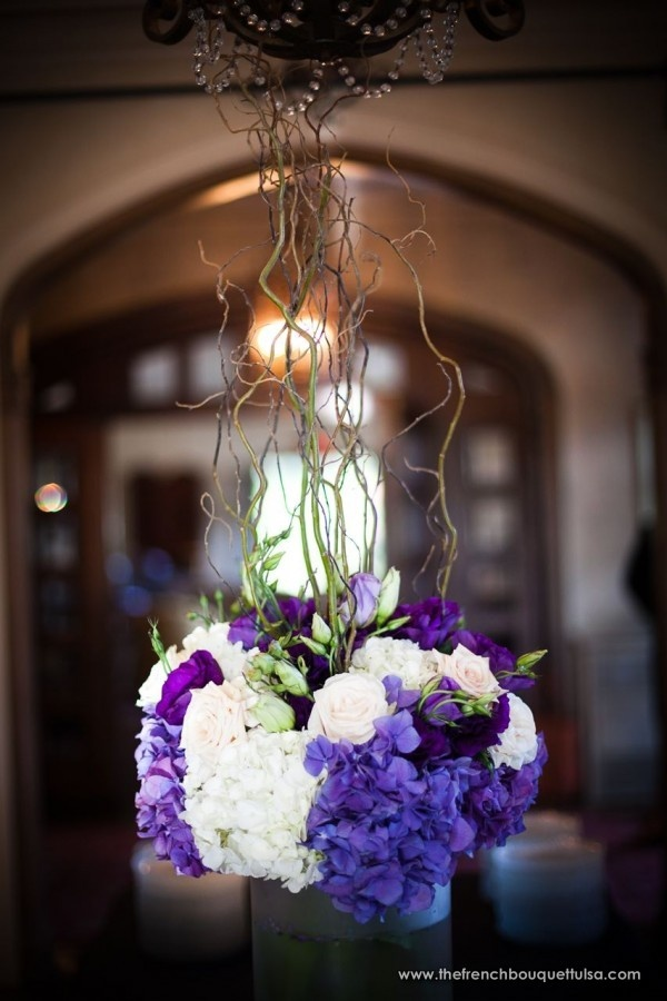 Escort Card Table Arrangement Of Purple And White Switch