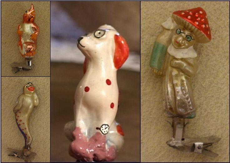 """В конце 50-х годов XX века в СССР была выпущена серия елочных игрушек """"Чиполлино"""". Игрушки этой серии продавались наборами и были выпущены небольшим тиражом. Первоначально все игрушки выпускались на прищепках. Позднее появились игрушки с верхними держателями, и стали выпускаться отдельные персонажи из первоначального набора. http://forum.vgd.ru/601/46172/30.htm?a=stdforum_view"""