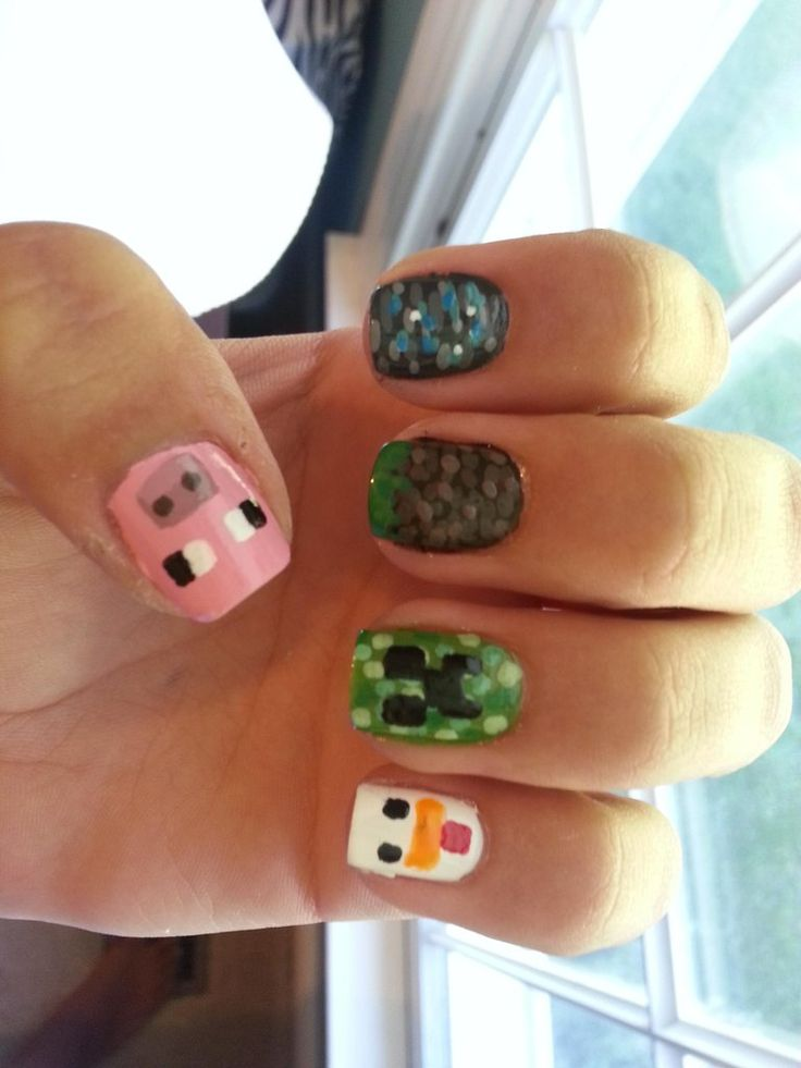 Minecraft nails (The link doesn't take you to a tutorial, but it does show you some more pics) - I'd love to try this out one day! I love Minecraft so much! K.S. -