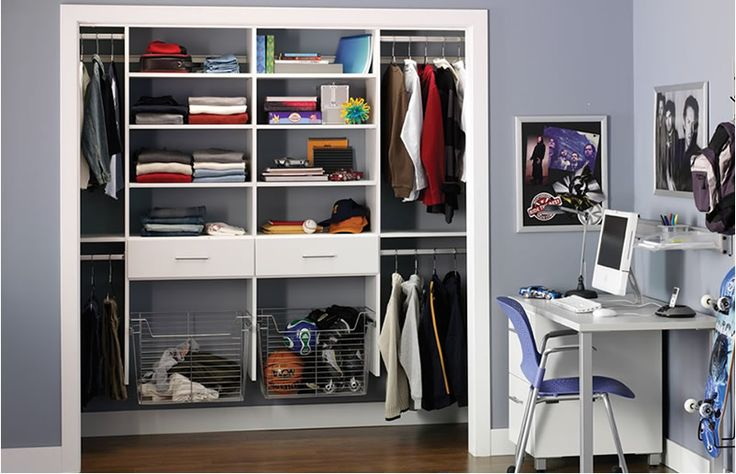 Like the baskets (for shoes). Like the shelf along the centre of the cupboard, between hanging spaces.