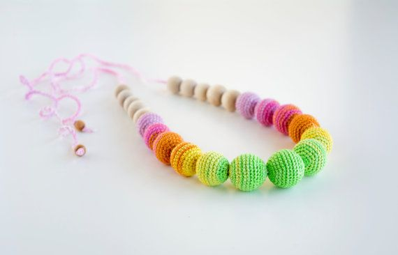 Crochet nursing necklace Eco friendly jewelry for by MyFirstToy