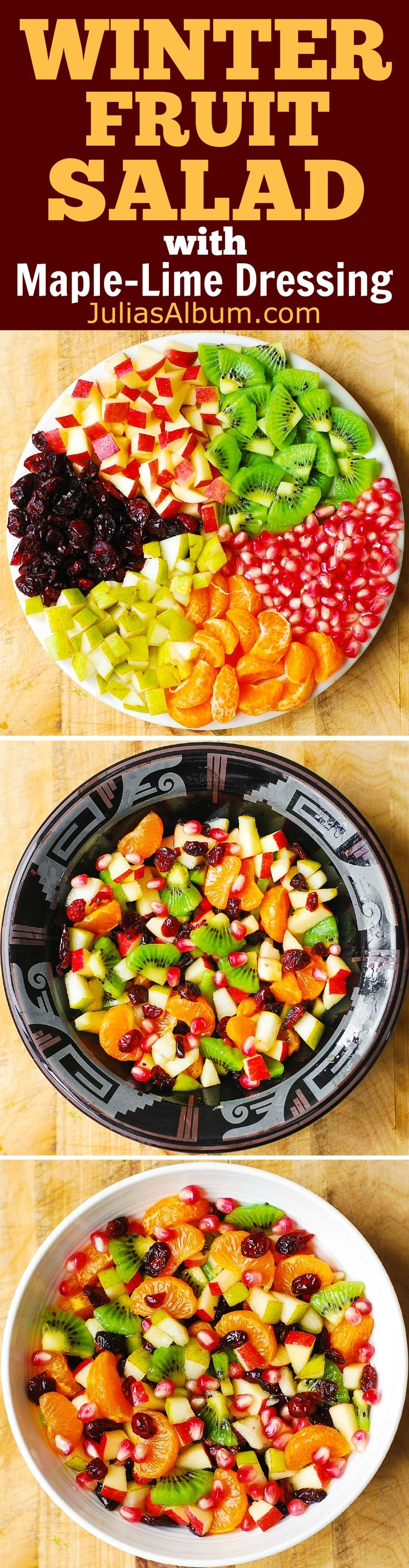 Winter Fruit Salad with Maple-Lime Dressing - healthy, gluten free salad! #Thanksgiving #Christmas #Holidays #recipe