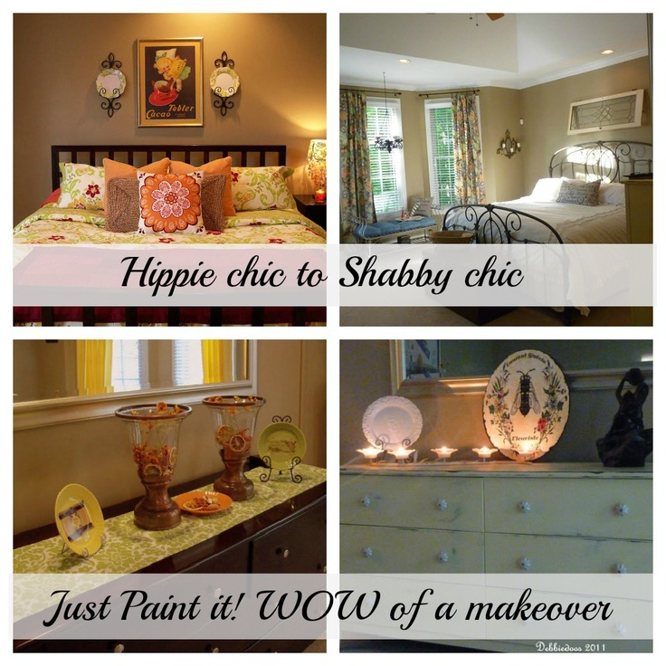 From hippie bedroom to Shabby chic bedroom makeover. Painting furniture with Annie Sloan Chalk paint.