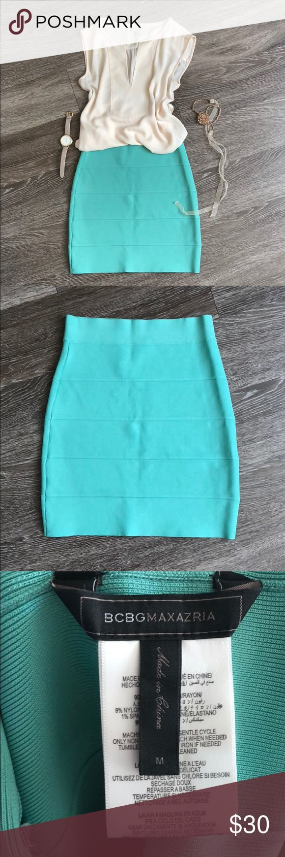"BCBGMAXAZRIA Turquoise Tube Skirt Turquoise bodycon skirt from BCBGMAXAZRIA! It's only been worn once or twice, no flaws. It's a nice thick material, and very stretchy. The waist is about 12.5"" flat and it's about 18"" long. Size medium, but I'm usually a size small and it fits me. BCBGMaxAzria Skirts Mini"
