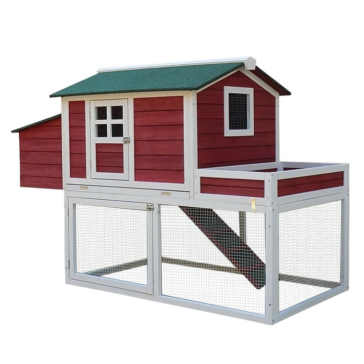 """Amazon.com: Pawhut 63"""" Farmhouse Wooden Chicken Coop with Display Top, Run Area and Nesting Box: Pet Supplies"""