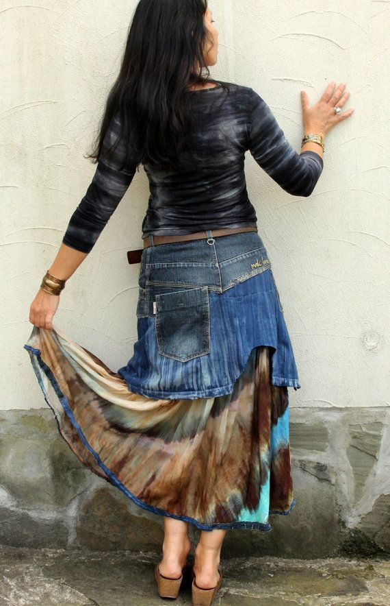 M-M/L tie dye lappendeken denim gerecycleerd lange rok hippie