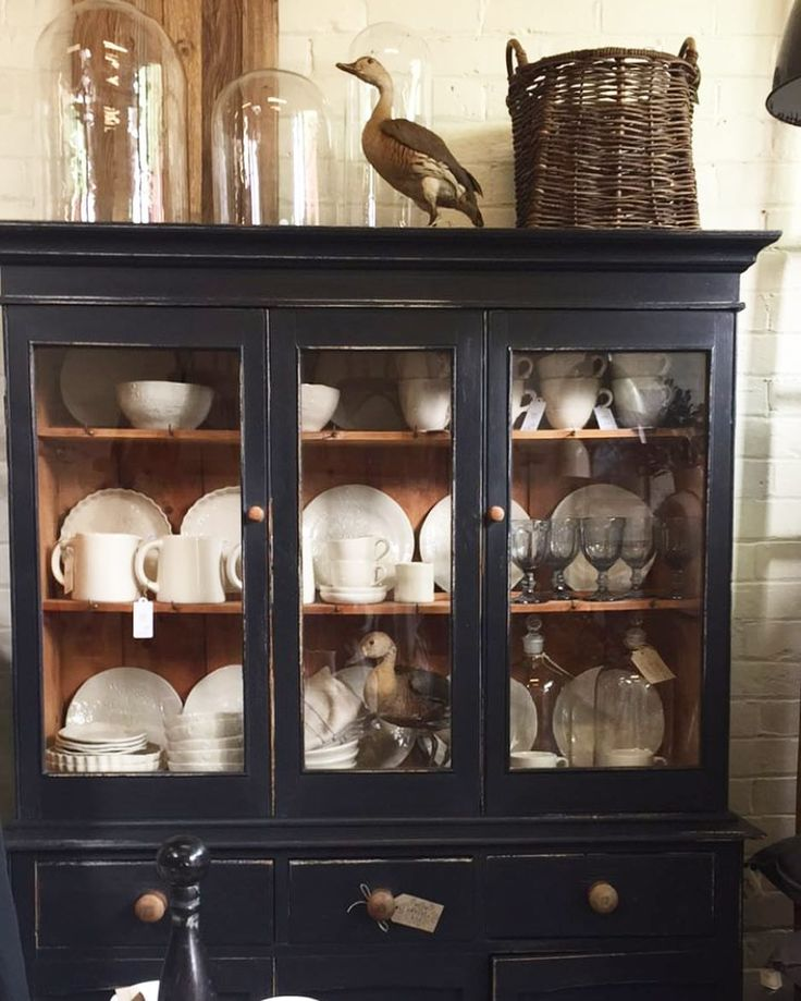 Vintage cabinet by The Vintage Rose, Launceston filled with Marley & Lockyer stoneware.