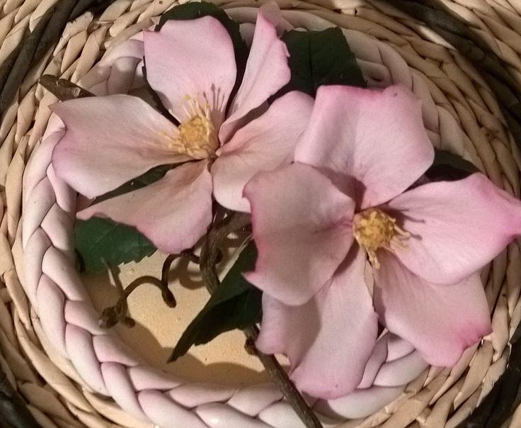 rosa selvatica in porcellana fredda su coperchio intrecciato con carta riciclata C.R.