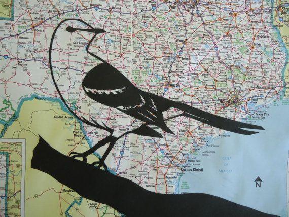 Texas Map State Bird Northern Mockingbird Silhouette Cutout
