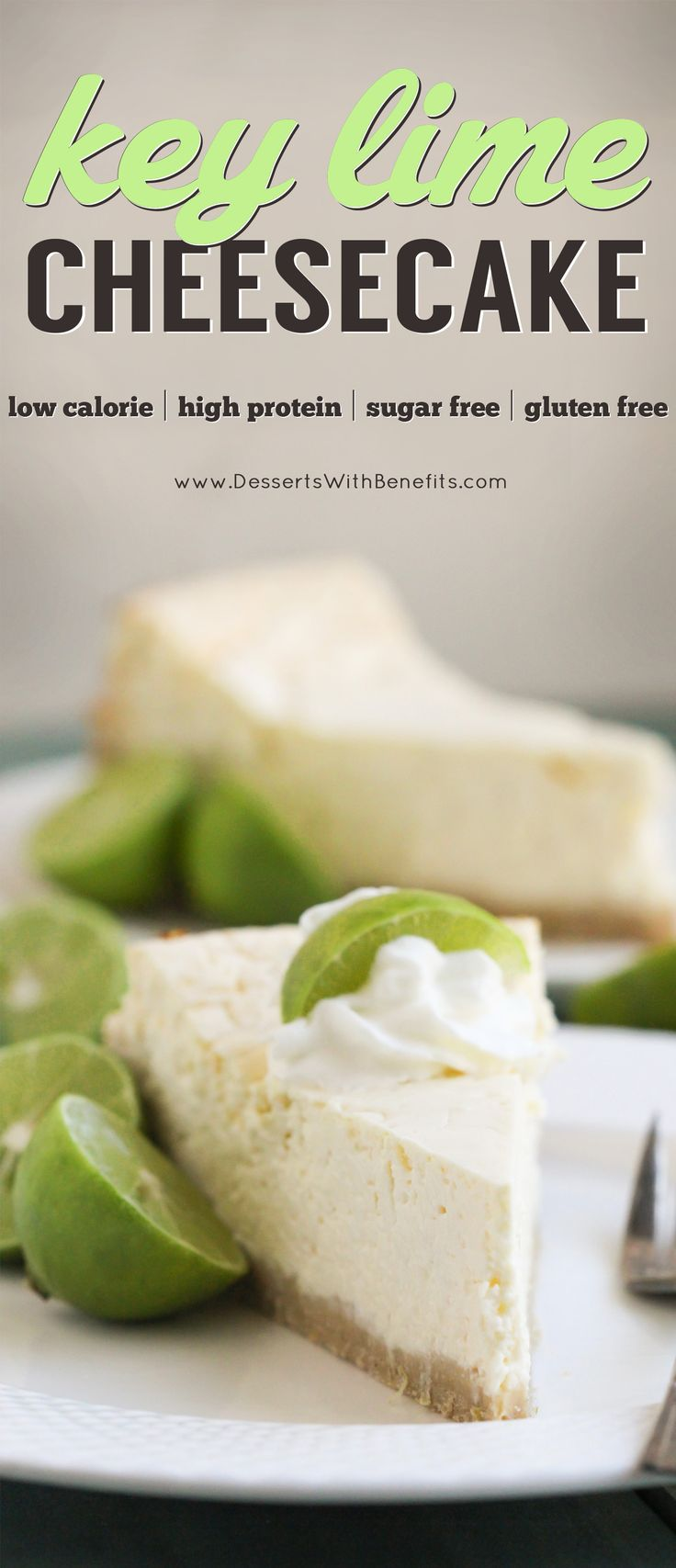 This Healthy Key Lime Cheesecake tastes like Key Lime Pie but in CHEESECAKE form! Each bite is sweet, refreshing, and delicious, you'd never suspect it's sugar free, gluten free, and high protein. -- Healthy Dessert Recipes with sugar free, low calorie, l