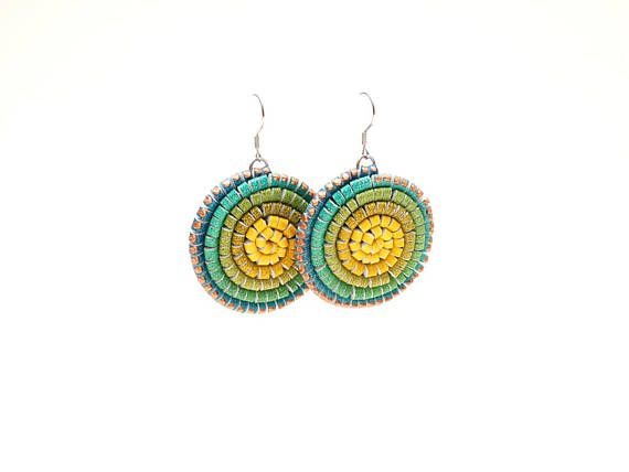 Leather Earrings Gradient Painted Blue Turquoise Green Yellow