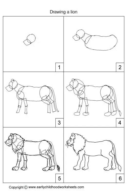 Basic pencil drawing lessons on how to draw a lion with six easy and simple drawing tutorial instructions for early childhood education preschool